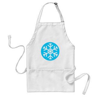 White snow flake in a blue circle apron