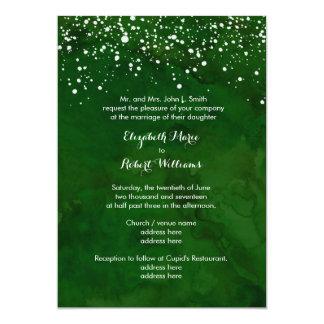 White Snow on Green Winter Wedding 13 Cm X 18 Cm Invitation Card