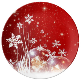 White snow red christmas plate