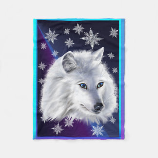 WHITE SNOW WOLF FLEECE BLANKET