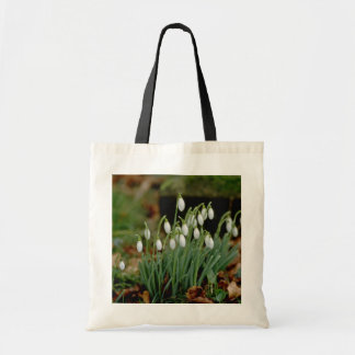white Snowdrops flowers Budget Tote Bag