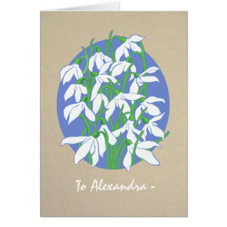 White Snowdrops on Burlap January Birthday Card