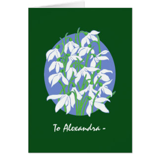White Snowdrops on Green January Birthday Card