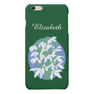 White Snowdrops on Soft Blue Oval Background iPhone 6 Plus Case