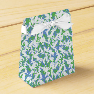 White Snowdrops Pattern on Blue Background Favour Box