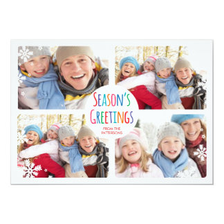 White Snowfall Merry Christmas Photo Collage Card 13 Cm X 18 Cm Invitation Card