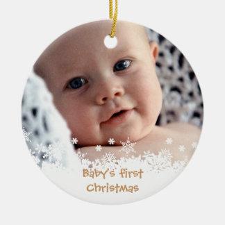 White snowflake brown gingerbread kid custom photo christmas ornament