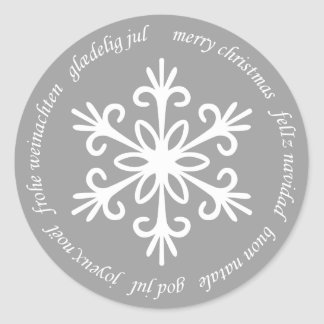 WHITE SNOWFLAKE. CUSTOMIZABLE BACKGROUND COLOUR. CLASSIC ROUND STICKER