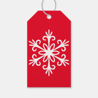 WHITE SNOWFLAKE. CUSTOMIZABLE BACKGROUND COLOUR. GIFT TAGS