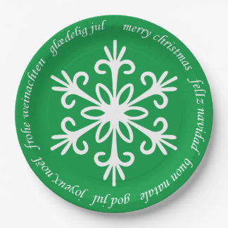 WHITE SNOWFLAKE. CUSTOMIZABLE BACKGROUND COLOUR. PAPER PLATE