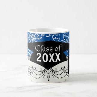 white snowflake damask on winter blue  graduation basic white mug