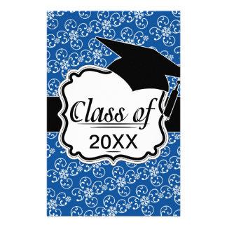 white snowflake damask on winter blue  graduation personalized stationery
