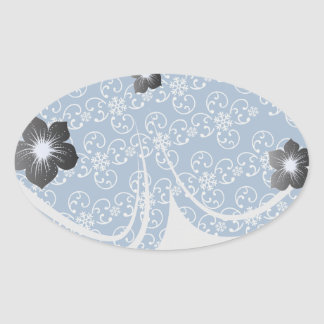 white snowflake damask on winter blue oval sticker