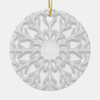 White Snowflake First Christmas in New Home Round Ceramic Decoration