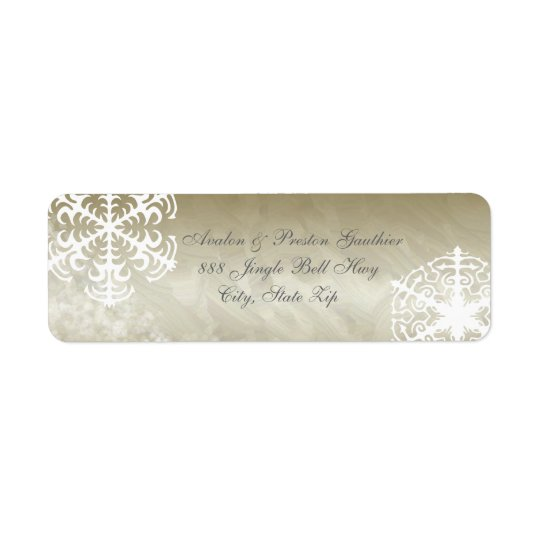White Snowflake Gold Foil Holiday Address Labels