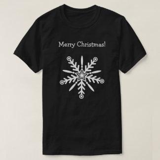 White snowflake on black, t-shirt xmas