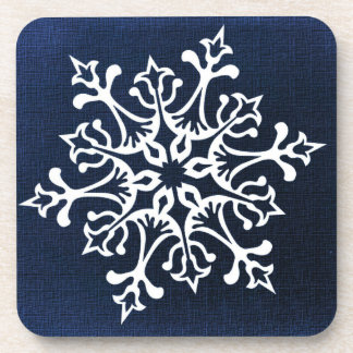 White Snowflake On Blue Coaster