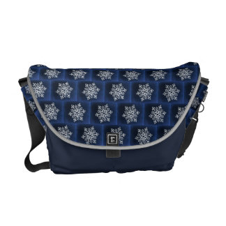 White Snowflake On Blue Commuter Bags