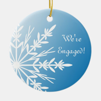 White Snowflake on Blue Engagement Christmas Ornament