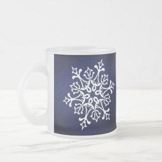 White Snowflake On Blue Frosted Glass Coffee Mug