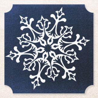 White Snowflake On Blue Paper Coaster