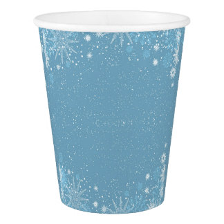 White Snowflake on Blue Paper Cup
