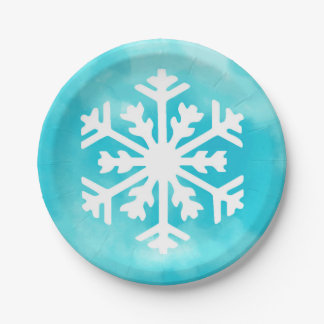 White snowflake on Blue Watercolor Background Paper Plate