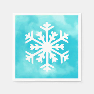 White snowflake on Blue Watercolor Background Paper Serviettes