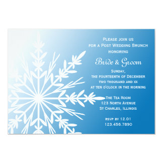 White Snowflake on Blue Winter Post Wedding Brunch Card