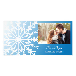 White Snowflake on Blue Winter Wedding Thank You Photo Card Template