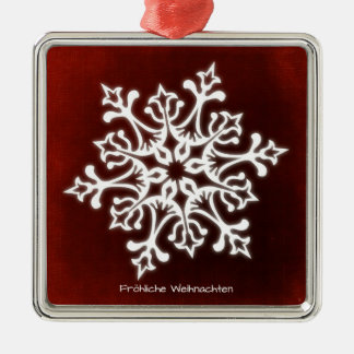 White Snowflake on Dark talk merry Christmas Christmas Ornament