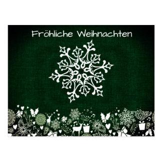 White Snowflake On Green Fröhliche Weihnachten Postcard