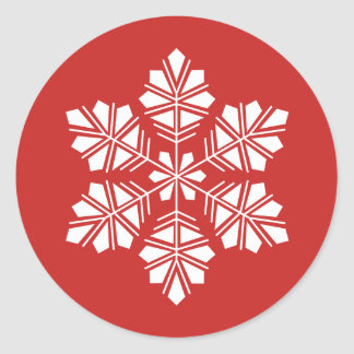 White Snowflake on Holiday Red Christmas Sticker