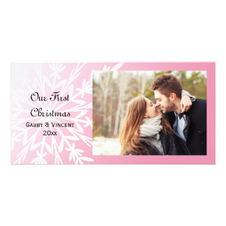 White Snowflake on Pink First Christmas Together Photo Card