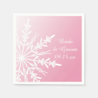 White Snowflake on Pink Winter Wedding Disposable Serviettes