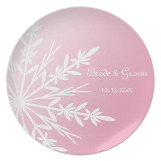 White Snowflake on Pink Winter Wedding Keepsake Plate