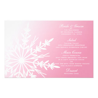 White Snowflake on Pink Winter Wedding Menu