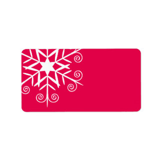 White snowflake on red christmas decor address label