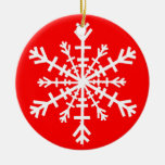 White Snowflake on Red Christmas Tree Ornament