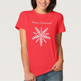 White snowflake on red, female t-shirt xmas