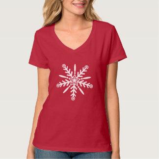 White snowflake on red xmas T-Shirt