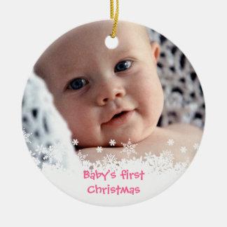 White snowflake pink gingerbread kid custom photo christmas ornament