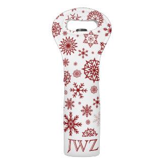 White Snowflake Red Christmas Custom Initials Wine Bag