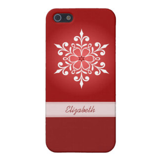 White Snowflake Red iPhone Case 5C/5/5S/4 Case For iPhone 5/5S