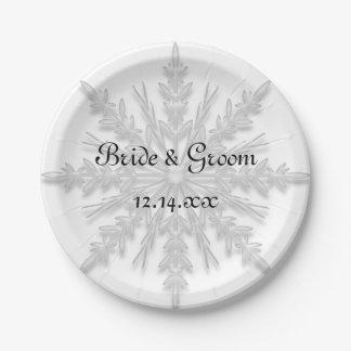 White Snowflake Winter Wedding Paper Plate