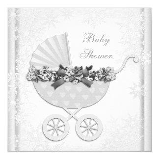 White Snowflake Winter Wonderland Baby Shower Card