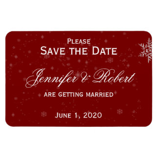 White Snowflakes Cranberry Wedding Save the Date Rectangular Photo Magnet