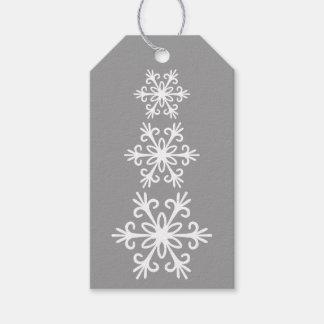 WHITE SNOWFLAKES. CUSTOMIZABLE BACKGROUND COLOUR. GIFT TAGS