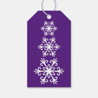 WHITE SNOWFLAKES. CUSTOMIZABLE BACKGROUND COLOUR. GIFT TAGS