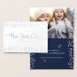 White Snowflakes New Year Cheer Quote Custom Photo Foil Card